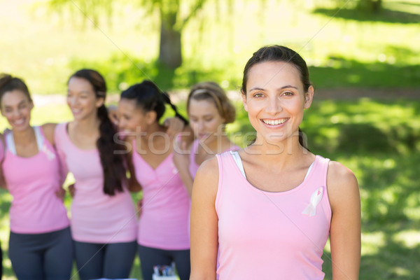 Souriant femmes rose cancer du sein conscience Photo stock © wavebreak_media
