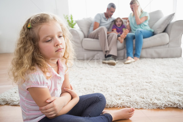 расстраивать девушки сидят полу родителей Сток-фото © wavebreak_media