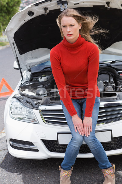 Annoyed young woman beside her broken down car Stock photo © wavebreak_media