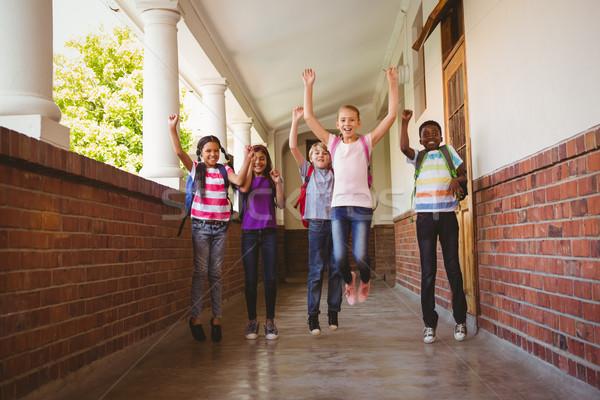 Okul çocuklar çalışma koridor tam uzunlukta portre Stok fotoğraf © wavebreak_media
