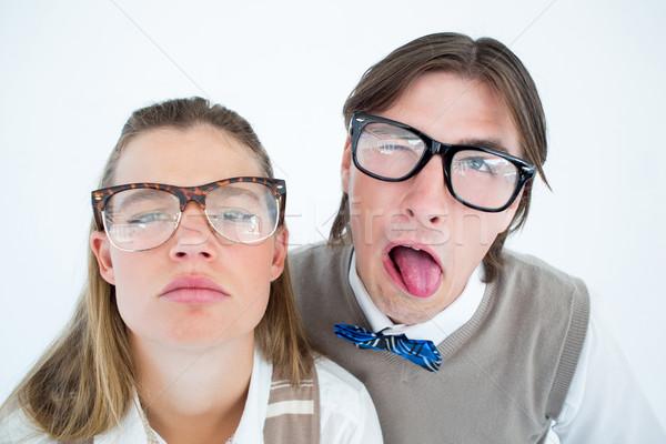 Vicces hipszterek férfi portré női férfi Stock fotó © wavebreak_media