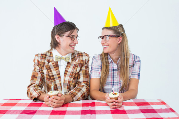 Geeky hipsters celebrating birthday  Stock photo © wavebreak_media