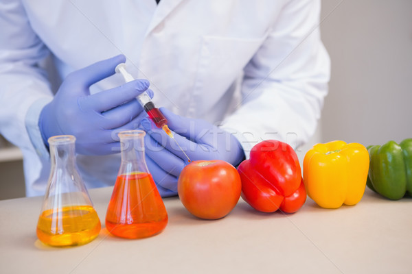ученого овощей лаборатория таблице томатный Сток-фото © wavebreak_media