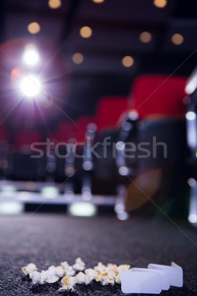 Pop kukorica mozi jegyek padló Stock fotó © wavebreak_media