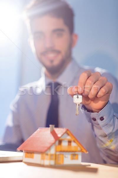 бизнесмен ключевые выстрел студию компьютер Сток-фото © wavebreak_media