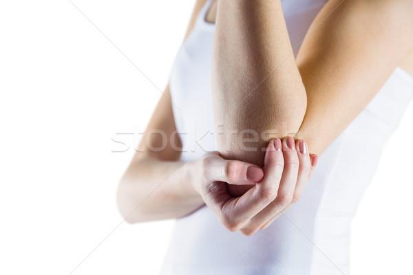 Fitt nő könyök sérülés fehér egészség Stock fotó © wavebreak_media