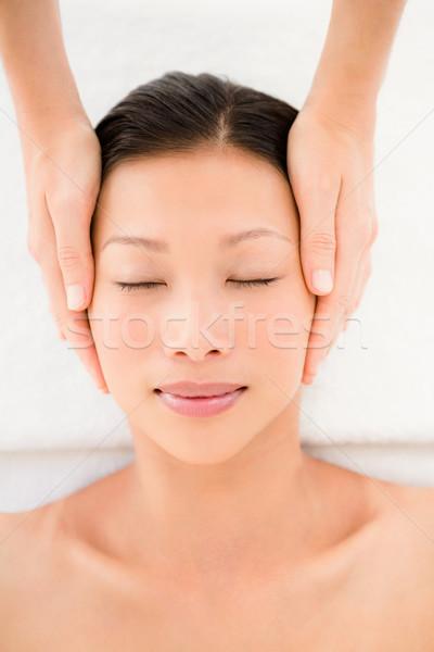 Stock fotó: Vonzó · fiatal · nő · fej · masszázs · fürdő · központ