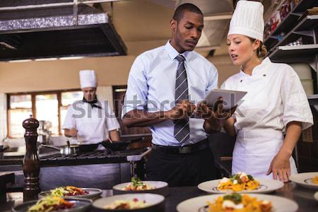 Chefs presenting his food plates Stock photo © wavebreak_media