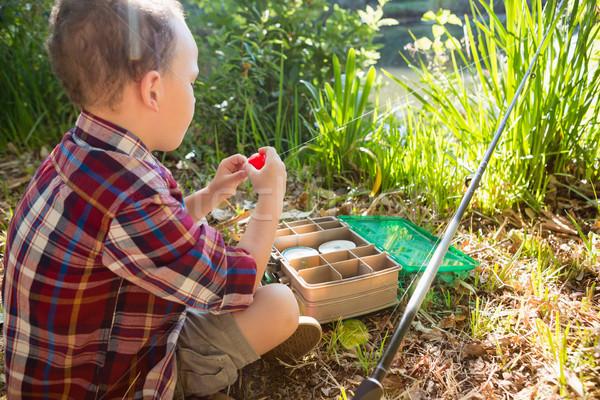 少年 餌 森林 背面図 ボックス 釣り ストックフォト © wavebreak_media