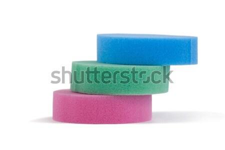Stacked of sponge pads on white background Stock photo © wavebreak_media