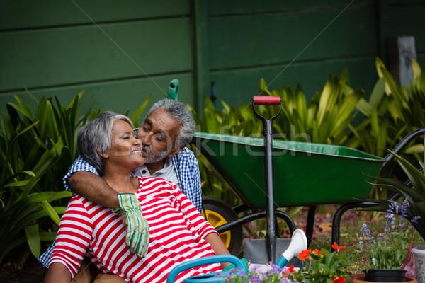 Idős férfi csók mosolygó nő udvar növények Stock fotó © wavebreak_media
