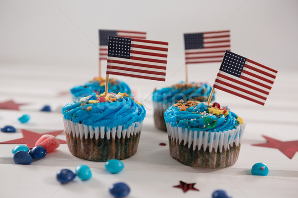 Cupcakes decorated with 4th july theme Stock photo © wavebreak_media