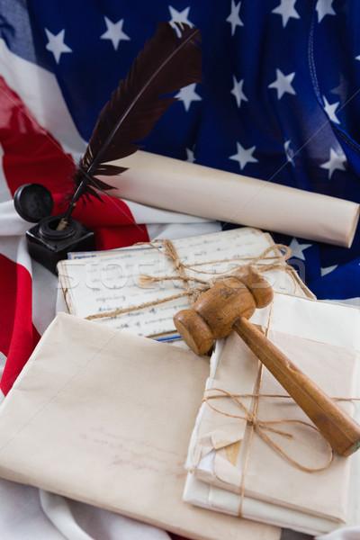 Stockfoto: Hamer · juridische · documenten · Amerikaanse · vlag · achtergrond
