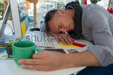 ビジネスマン カップ 寝 ファイル デスク ストックフォト © wavebreak_media