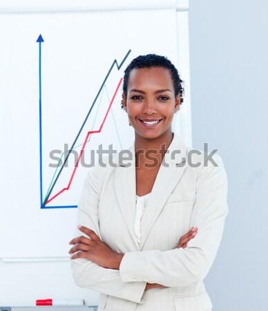 Heureux femme d'affaires toucher interface écran permanent Photo stock © wavebreak_media