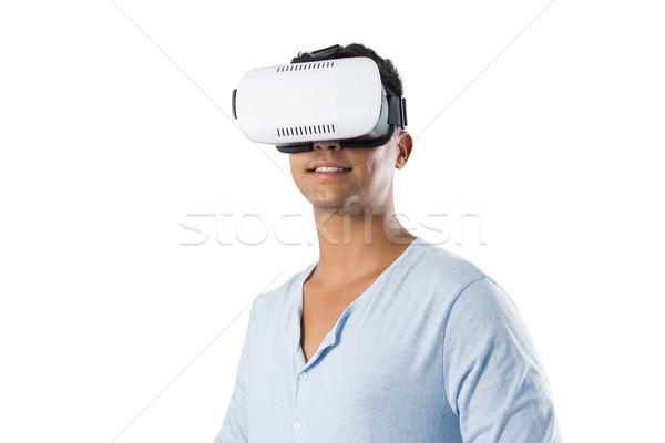 Adam sanal gerçeklik kulaklık beyaz web Stok fotoğraf © wavebreak_media