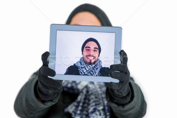 Bearded man using a tablet to take a selfie Stock photo © wavebreak_media
