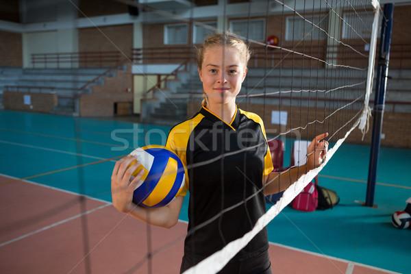 Mosolyog röplabda női játékosok áll mögött Stock fotó © wavebreak_media