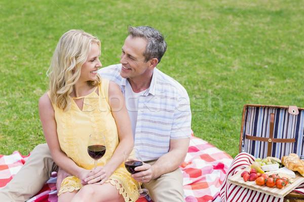 счастливым пару пикника вино за пределами женщину Сток-фото © wavebreak_media