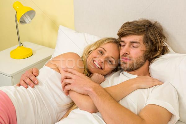 Cute пару кровать спальня любви Сток-фото © wavebreak_media