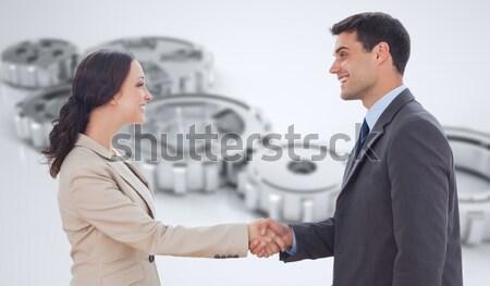 ビジネスマン 握手 女性実業家 エレベーター 笑みを浮かべて 作業 ストックフォト © wavebreak_media