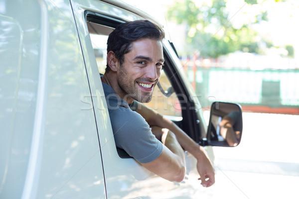 Conductor sesión coche retrato guapo hombre Foto stock © wavebreak_media