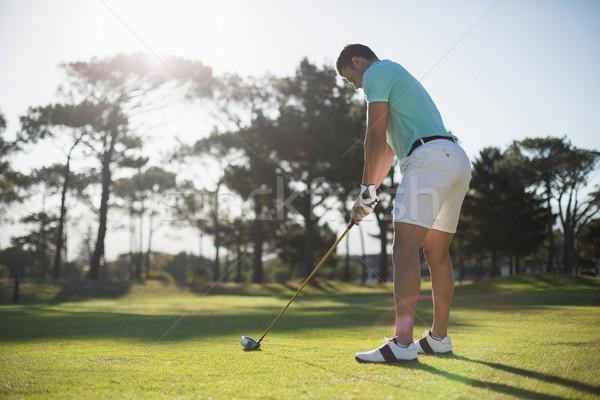 Stockfoto: Jonge · man · spelen · golf · permanente · veld