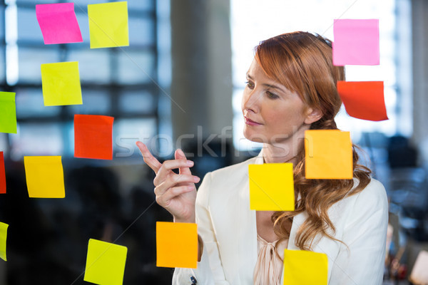 Businesswoman pointing at sticky notes Stock photo © wavebreak_media