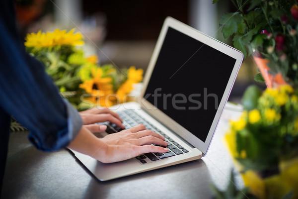 Femminile fiorista utilizzando il computer portatile mano donna Foto d'archivio © wavebreak_media