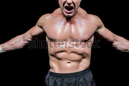 Bokser boksen houding zwarte Stockfoto © wavebreak_media