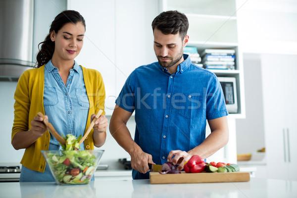 Paar samen keuken home vrouw Stockfoto © wavebreak_media