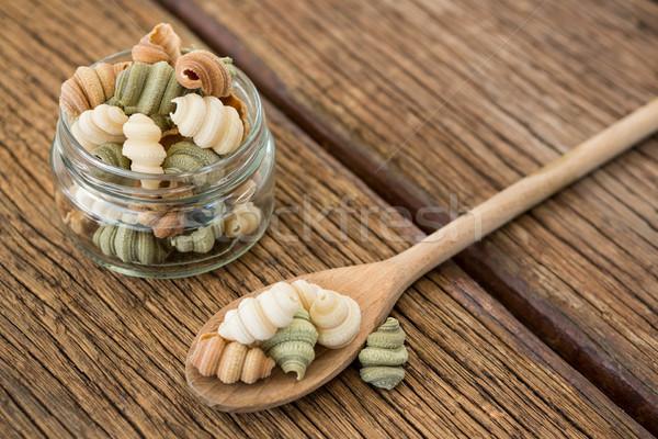 Glas jar lepel pasta hout groene Stockfoto © wavebreak_media