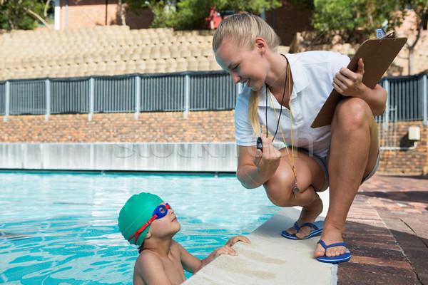 Kobiet trener stoper chłopca kobieta Zdjęcia stock © wavebreak_media