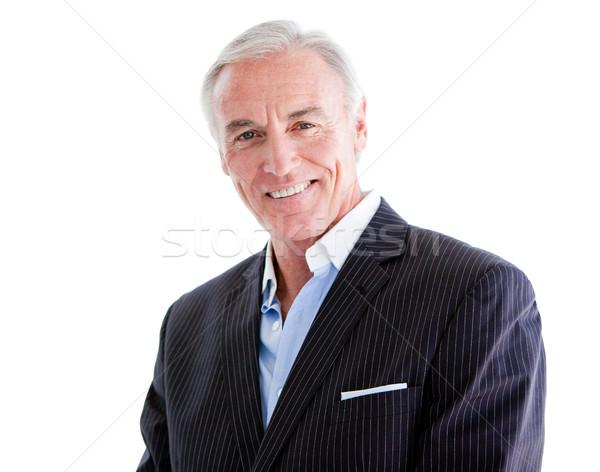 Tolakodó idős üzletember áll fehér boldog Stock fotó © wavebreak_media