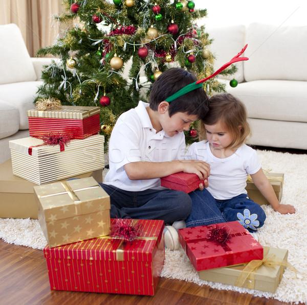 счастливым брат сестра открытие Рождества подарки Сток-фото © wavebreak_media
