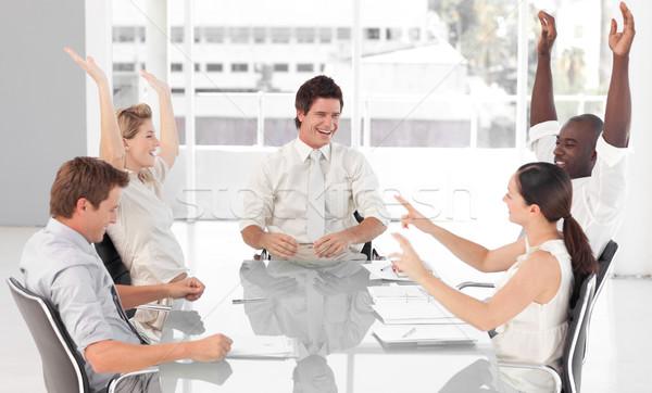 üzleti csapat ünnepel siker fiatal nő mosoly Stock fotó © wavebreak_media