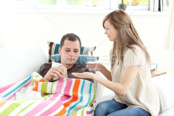 Positief vrouw zorg echtgenoot home Stockfoto © wavebreak_media