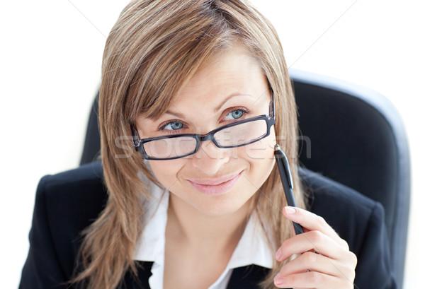 Charyzmatyczny kobieta interesu pióro okulary Zdjęcia stock © wavebreak_media