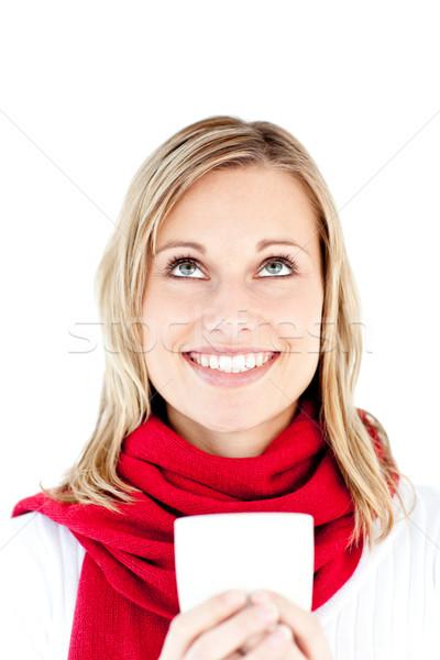 Fiatal nő tart csésze visel sál fehér Stock fotó © wavebreak_media
