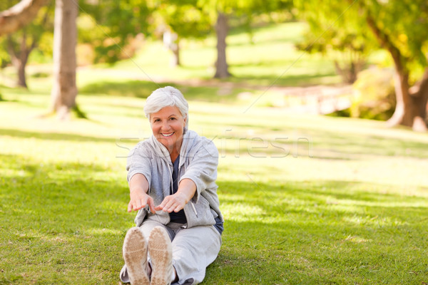 Retired woman doing her stretches in the park Stock photo © wavebreak_media