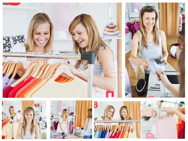 Collage of two good looking women doing shopping Stock photo © wavebreak_media