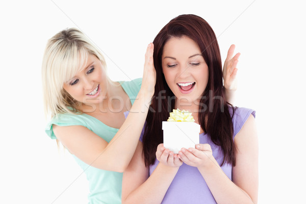 Gorgeous woman gifting her friend in a studio Stock photo © wavebreak_media