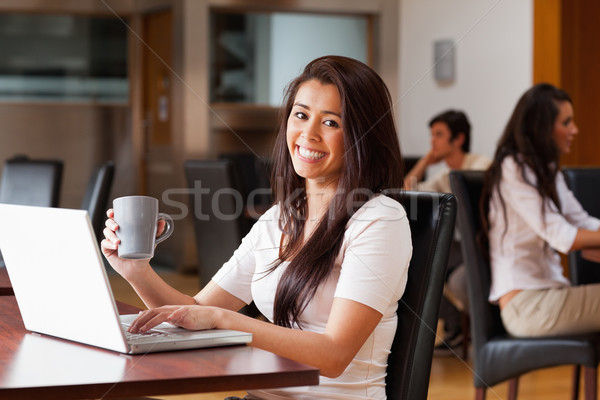 Cute woman using a laptop in a cafe Stock photo © wavebreak_media