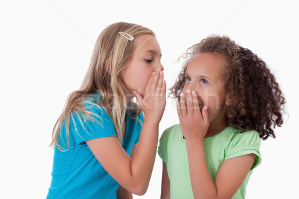 Young girl whispering a secret to her friend against a white background Stock photo © wavebreak_media