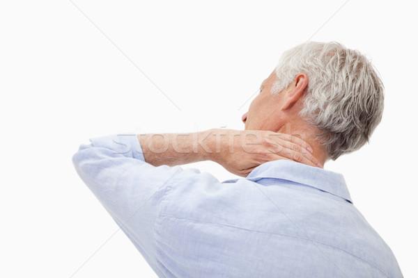 érett férfi nyaki fájdalom fehér orvosi test gyógyszer Stock fotó © wavebreak_media