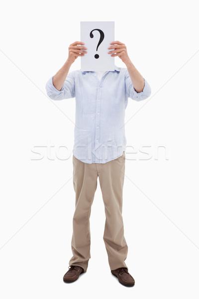 Portre adam soru işareti kâğıt beyaz Stok fotoğraf © wavebreak_media