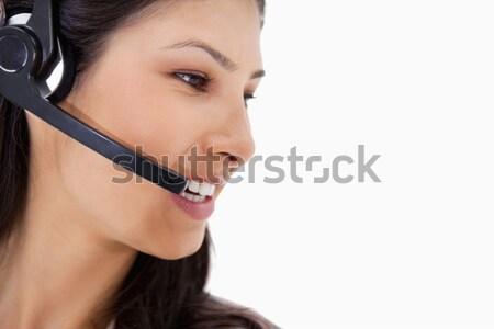 Vista lateral zangado call center agente branco negócio Foto stock © wavebreak_media
