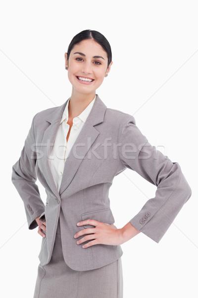 Mosolyog elarusítónő kezek csípő fehér boldog Stock fotó © wavebreak_media