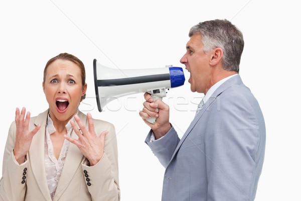 бизнесмен кричали коллега мегафон белый стороны Сток-фото © wavebreak_media