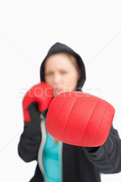Kobieta boks czerwony rękawice biały sportu Zdjęcia stock © wavebreak_media